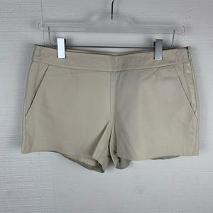 Joie Cream Leather Shorts Side Zipper Pockets